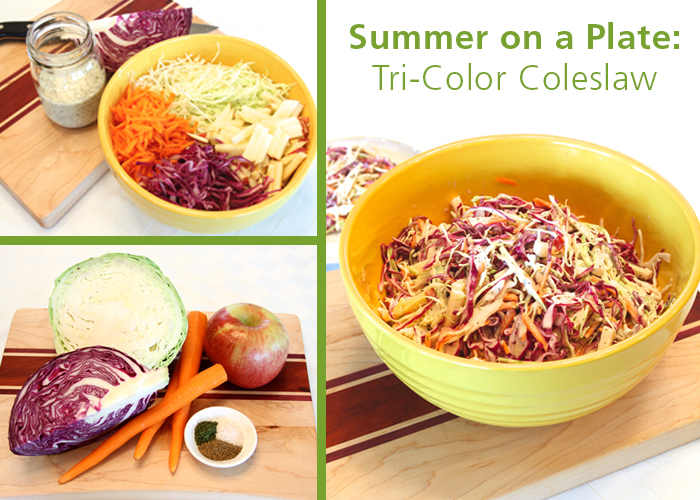 Summer on a Plate: Tri-Color Coleslaw recipe | via Spokane County Library District