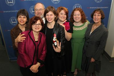 Sheri (third from R) and the 2011 Geisel Award Committee the morning of the Youth Media Awards, January 9, 2011
