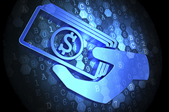 Icon of Money in the Hand on Digital Background.