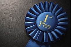 First place award rosette over dark background with copy space