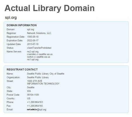 Domain information from whois.com for actual Seattle Public Library domain
