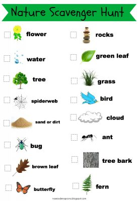 Nature Scavenger Hunt checklist