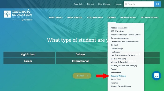 Career drop-down menu on Testing & Education Reference Center homepage