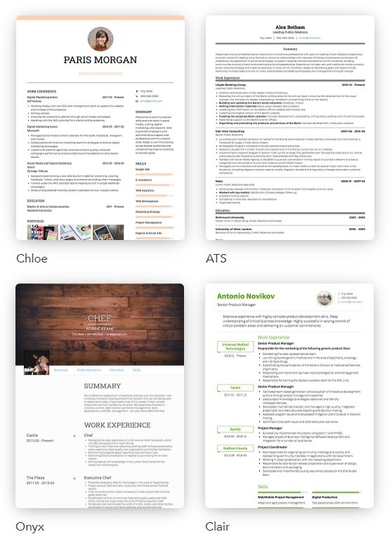 Some of the resume and CV Templates