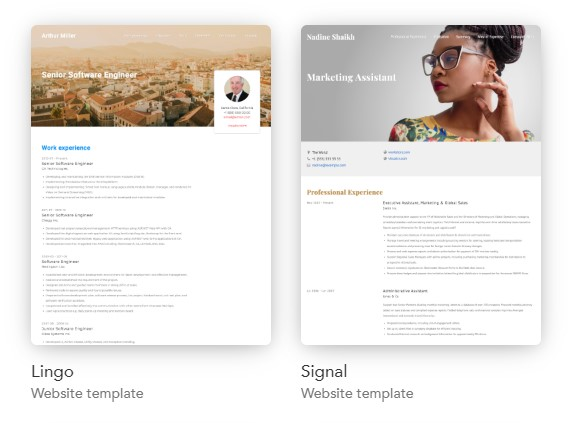 Two of the website resume templates