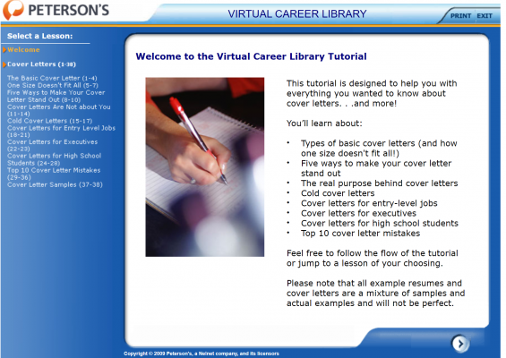 Lesson on cover letters in the Virtual Career Library